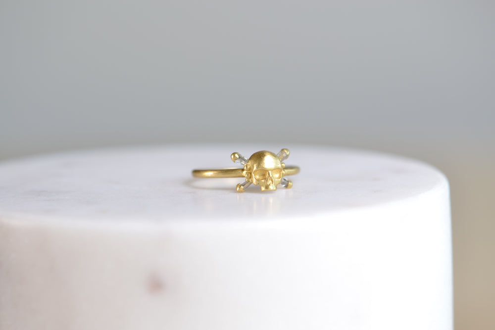 Load image into Gallery viewer, Polly Wales Skull & Bone Baguette Diamond Diamonds ring