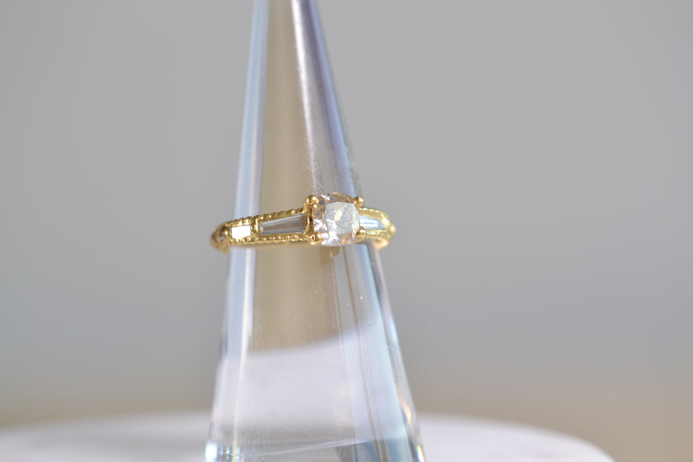 Polly Wales Coco Diamond Ring Rustic Champagne baguette diamonds 18k yellow recycled gold