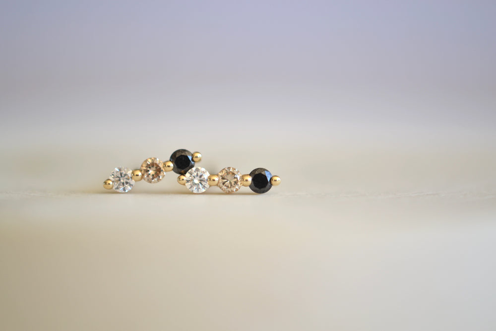 Ombre Ombré Diamond Stud White Champagne Black 14k yellow gold prong setting