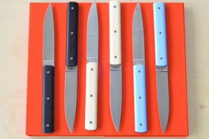 9.47 Steak Knife by Perceval black lavender blue bone OK