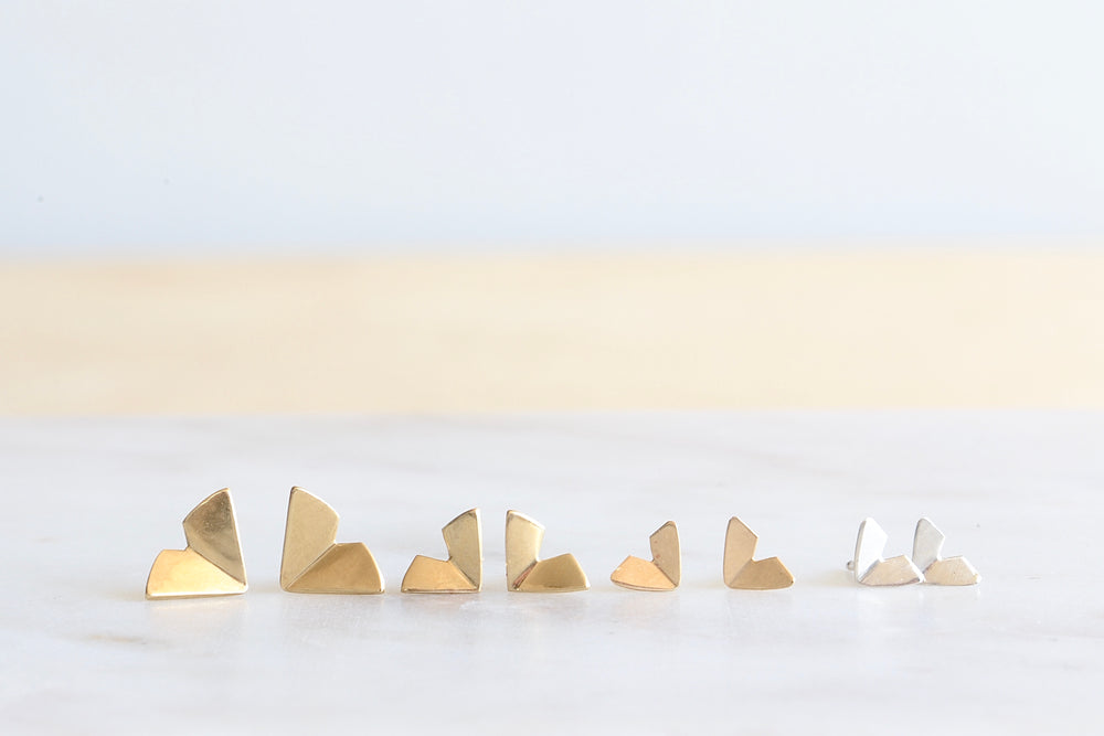 Origami Studs in Gold and Silver