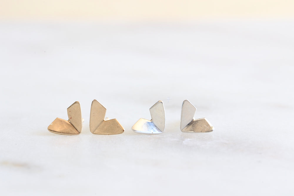 Load image into Gallery viewer, Origami Studs in Gold and Silver