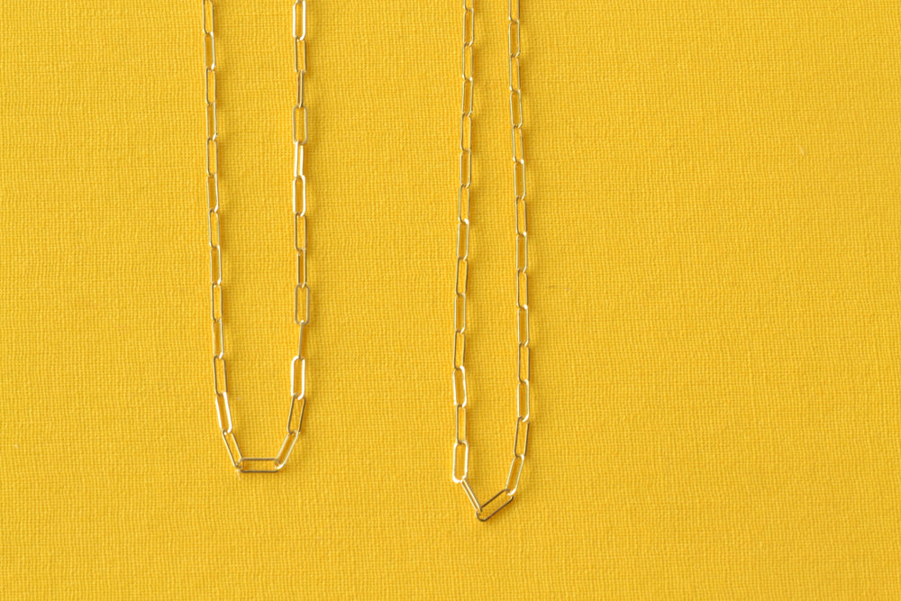 "OK XS Paperclip Chains 20"" and 24"" 14k Yellow Gold"