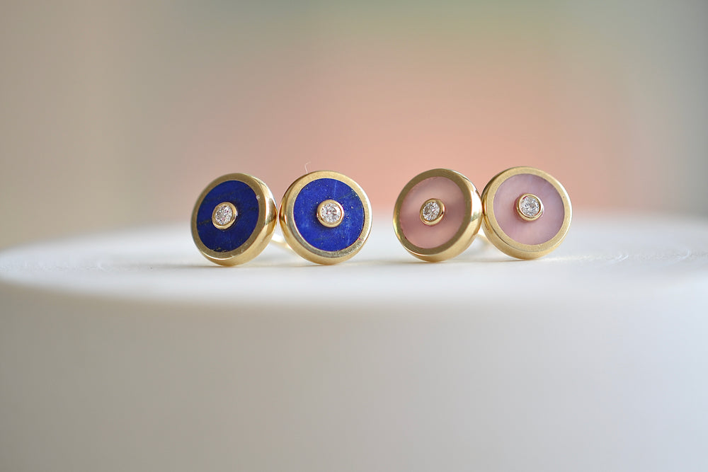 Load image into Gallery viewer, Retrouvai Stud Earrings stone inlay accent diamond 14k yellow gold bezel studs Black Onyx Blue Lapis Pink Opal