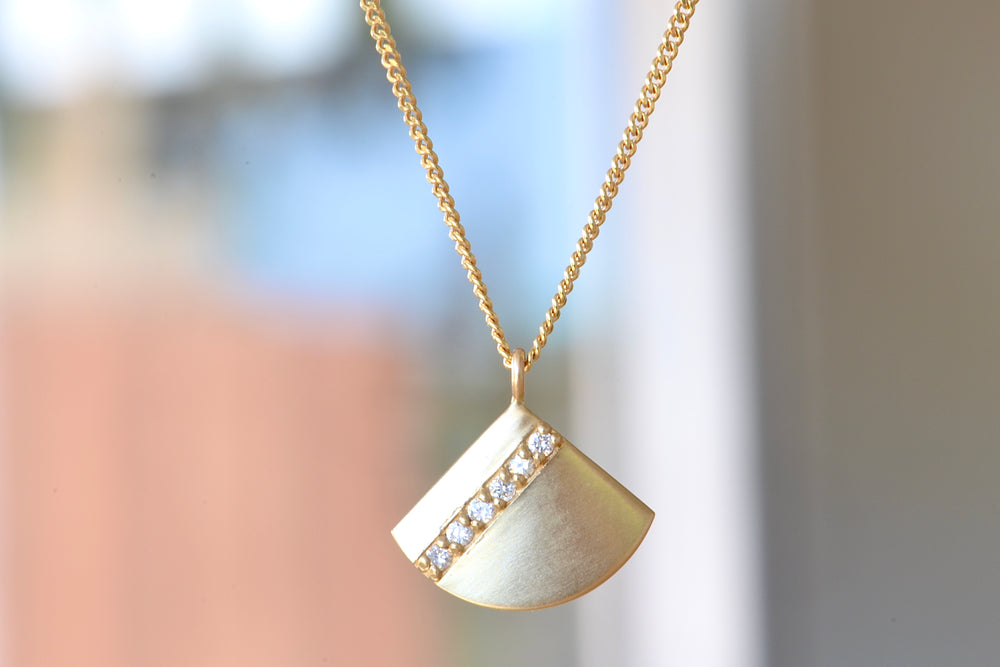 Diamond Stripe Fan Pendant Necklace