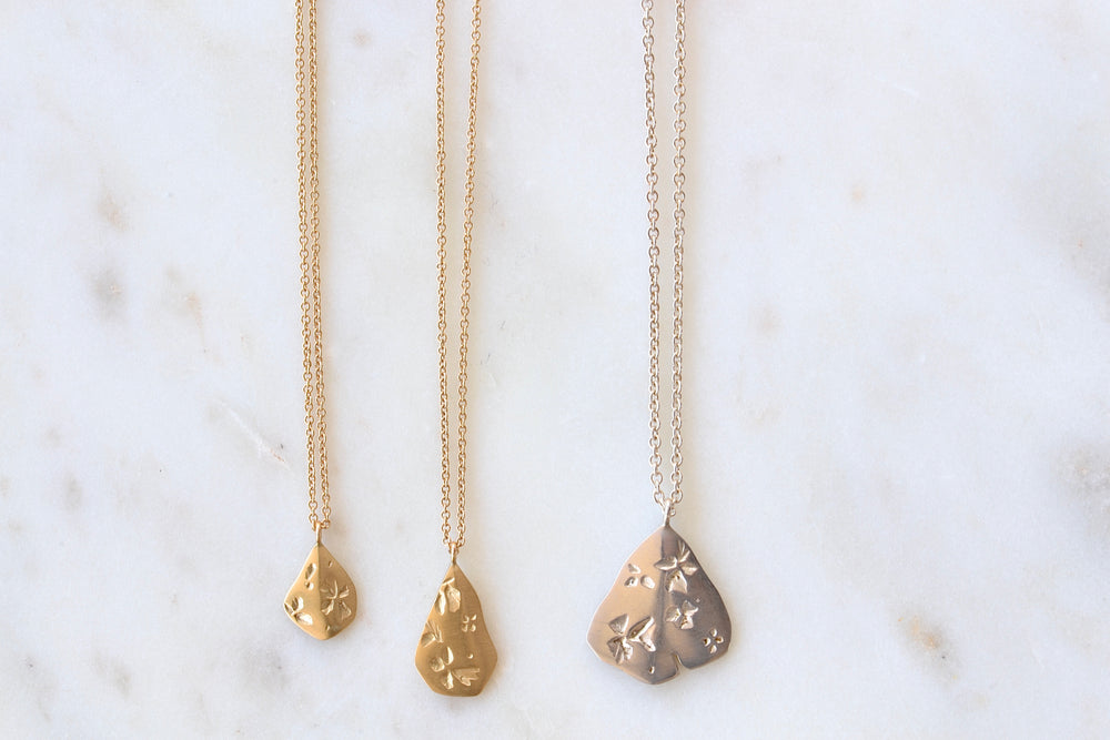 Petal Pendant in gold and silver