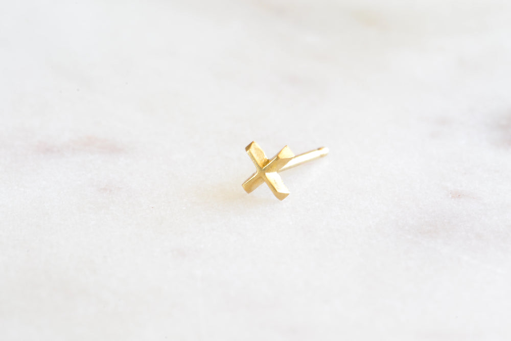 Single Gold and Pavé Mini Stud Earrings