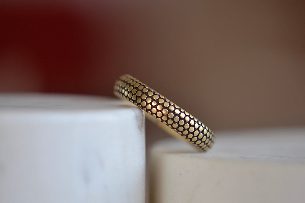 Marian Maurer Dot Dotted Wedding Band various widths 18k yellow gold dots on black background 3mm band and satin finish.