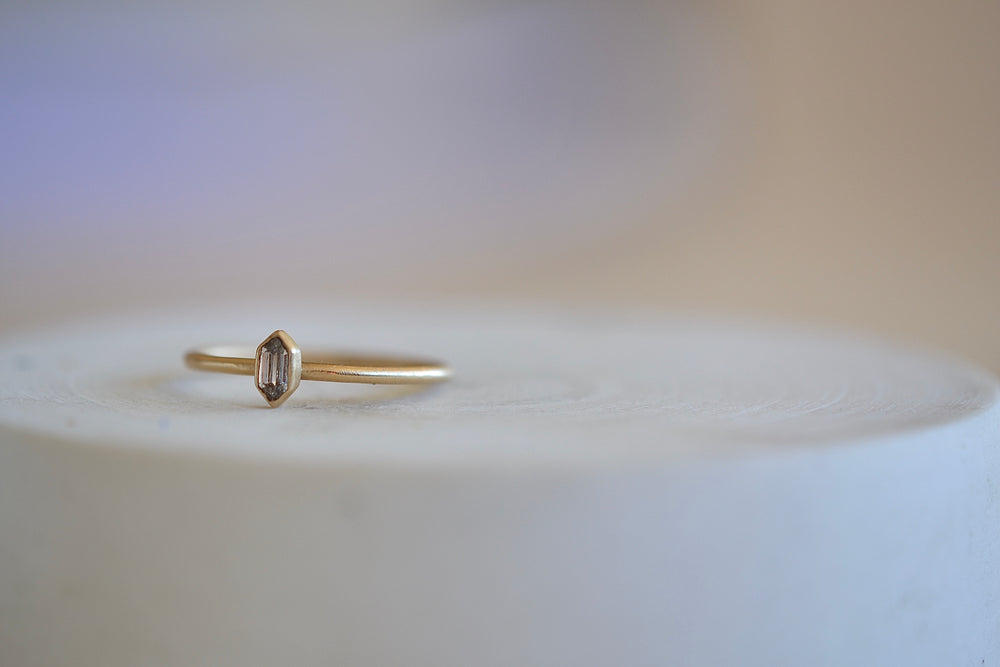 Rebecca Overmann small Double point Diamond Ring 14k Yellow Gold