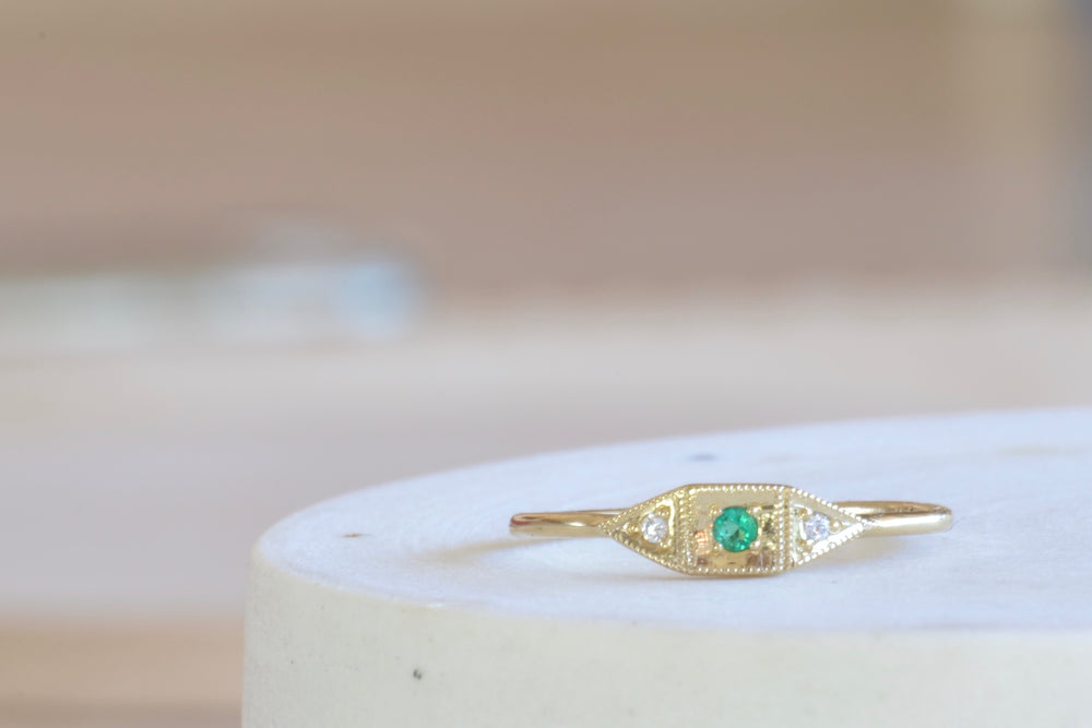 Jennie Kwon Emerald Mini Deco Point Ring White Diamond Diamonds 14k yellow gold