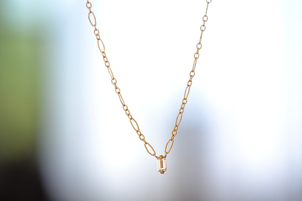 Elizabeth Street Diamond baguette Pendant Necklace 18k yellow gold Italian chain handmade