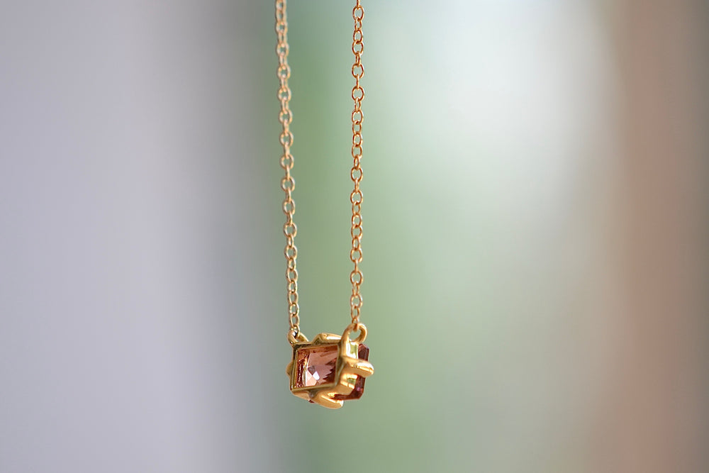 Elizabeth Street Pink Tourmaline Marquise Pendant Necklace 14k yellow gold chain eagle claw prong setting