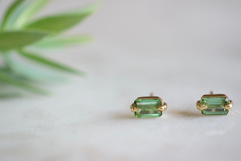 Elizabeth Street Eagle Claw Tourmaline Stud Earrings 14k yellow gold emerald cut green