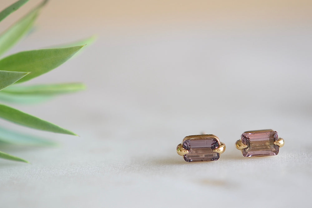 Elizabeth Street Eagle Claw Tourmaline Stud Earrings 14k yellow gold emerald cut studs purple