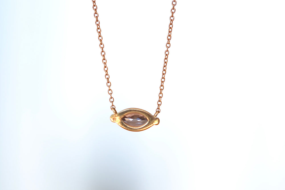 Elizabeth Street Pink Sapphire Marquise Pendant Necklace 14k yellow gold chain eagle claw prong setting