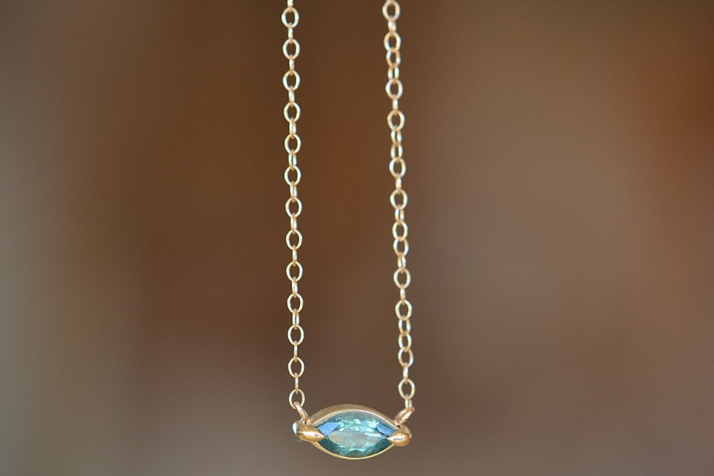 Elizabeth Street Blue Green Marquise Pendant Necklace 14k yellow gold chain eagle claw prong setting