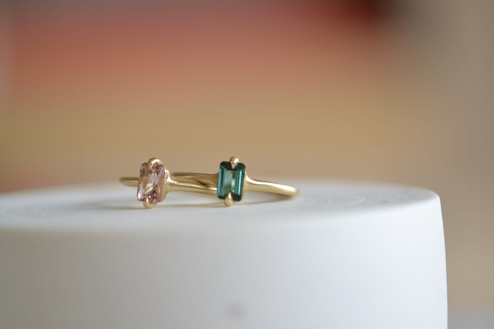 Elizabeth Street Small North South Eagle Claw ring green tourmaline 14k yellow gold two setting pink peach