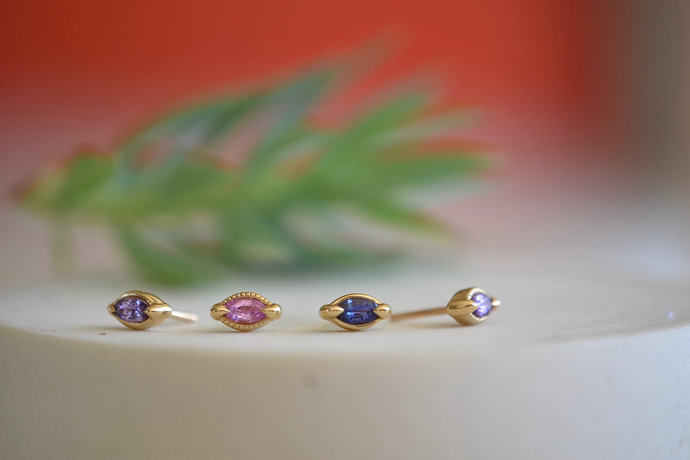 Elizabeth Street Marquise Stud Earrings  Blue, Pink, Lilac or Purple Sapphire Sapphires 14k yellow gold bezel smooth or textured milgrain