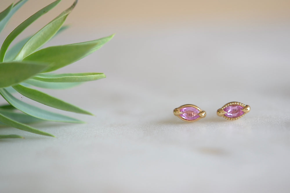 Pink Elizabeth Street Marquise Stud Earrings  Pink  Sapphire Sapphires 14k yellow gold bezel smooth or textured milgrain