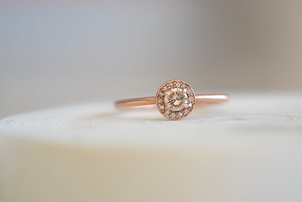 Rebecca Overmann Baby Fancy Champagne Diamond Ring fourteen 14 diamonds 14k rose gold band