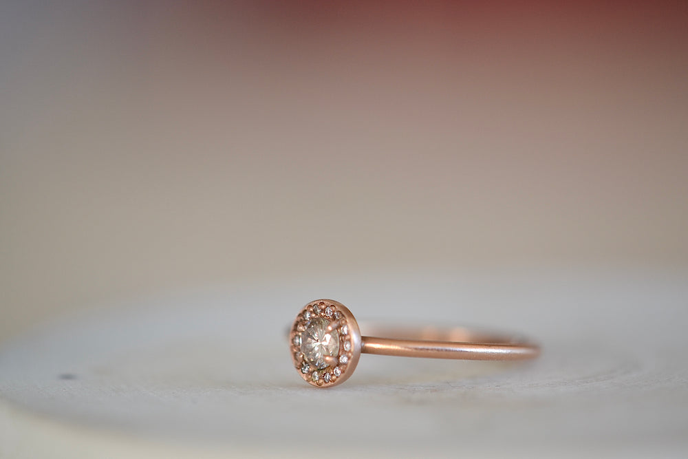 Load image into Gallery viewer, Rebecca Overmann Baby Fancy Champagne Diamond Ring fourteen 14 diamonds 14k rose gold band