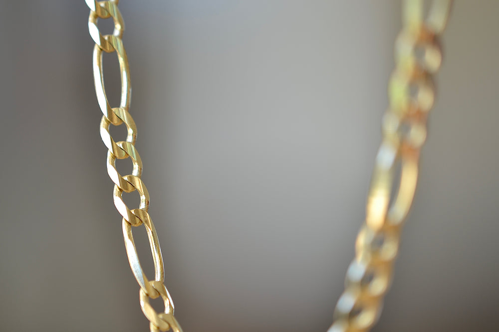 OK Chain Bar Figaro Chain Large 4mm wide 14k gold 20""