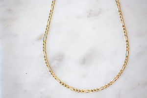 OK Chain Bar Figaro Chain 3mm 14k gold 18""