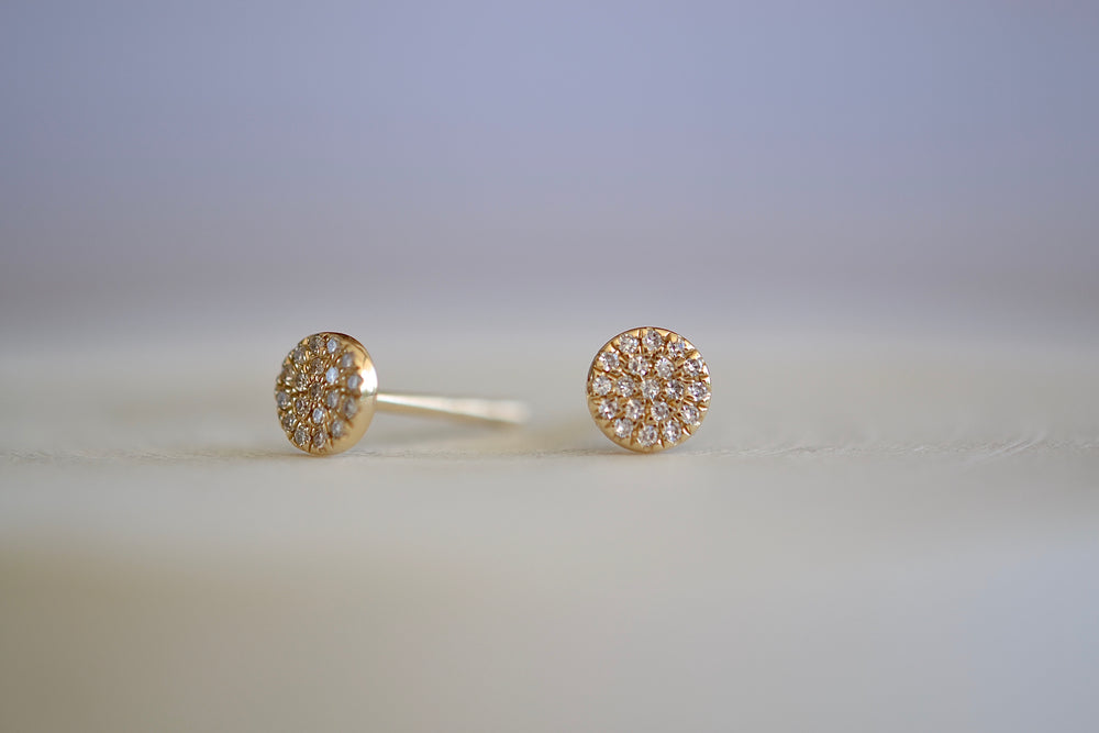 OK Pave Pavé circle studs 19 diamonds 14k yellow gold