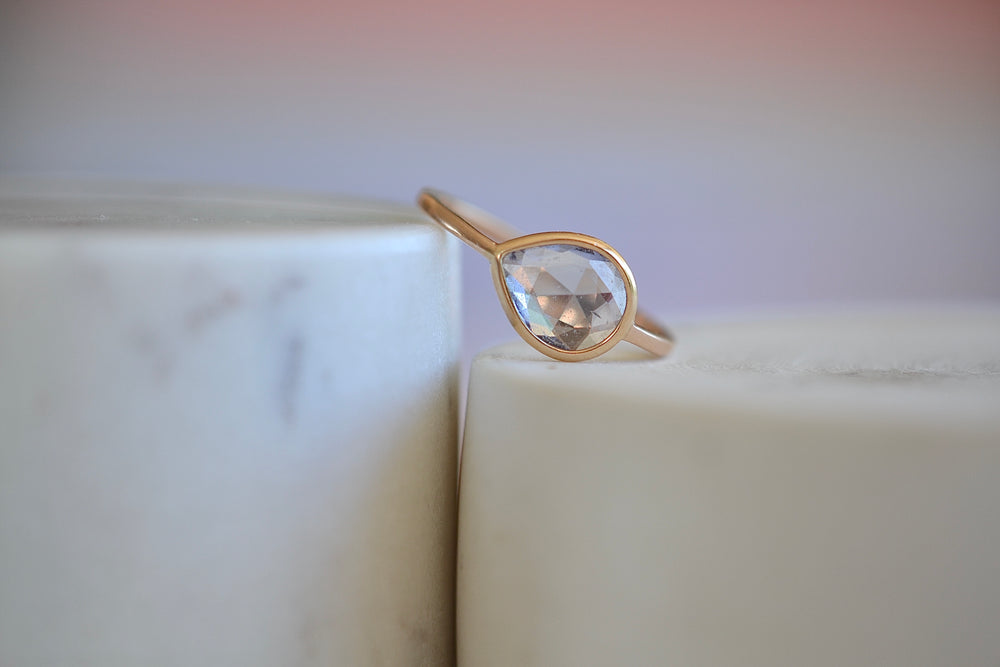 Gillian Conroy Cornflower Blue Sapphire Pear shaped 14k rose gold faceted
