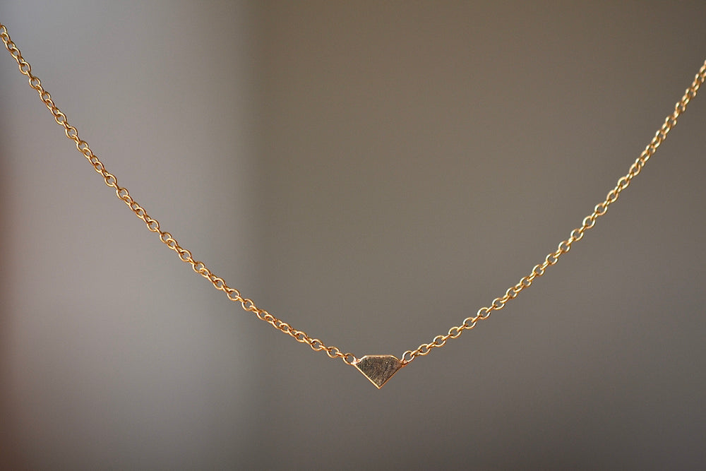 Zoe Chicco Itty Bitty 14k Diamond Gem necklace recycled yellow gold on cable chain charm pendant