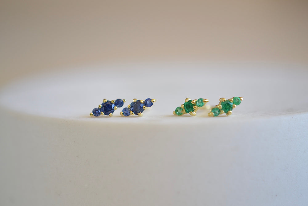 Ila Hanley Stud Studs Earrings in blue sapphire or green emerald and 14k yellow gold sustainable recycled