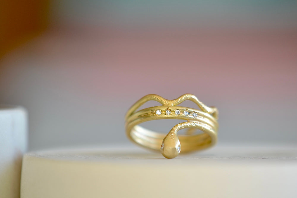 Three wrap Hebi Snake Ring No. 7