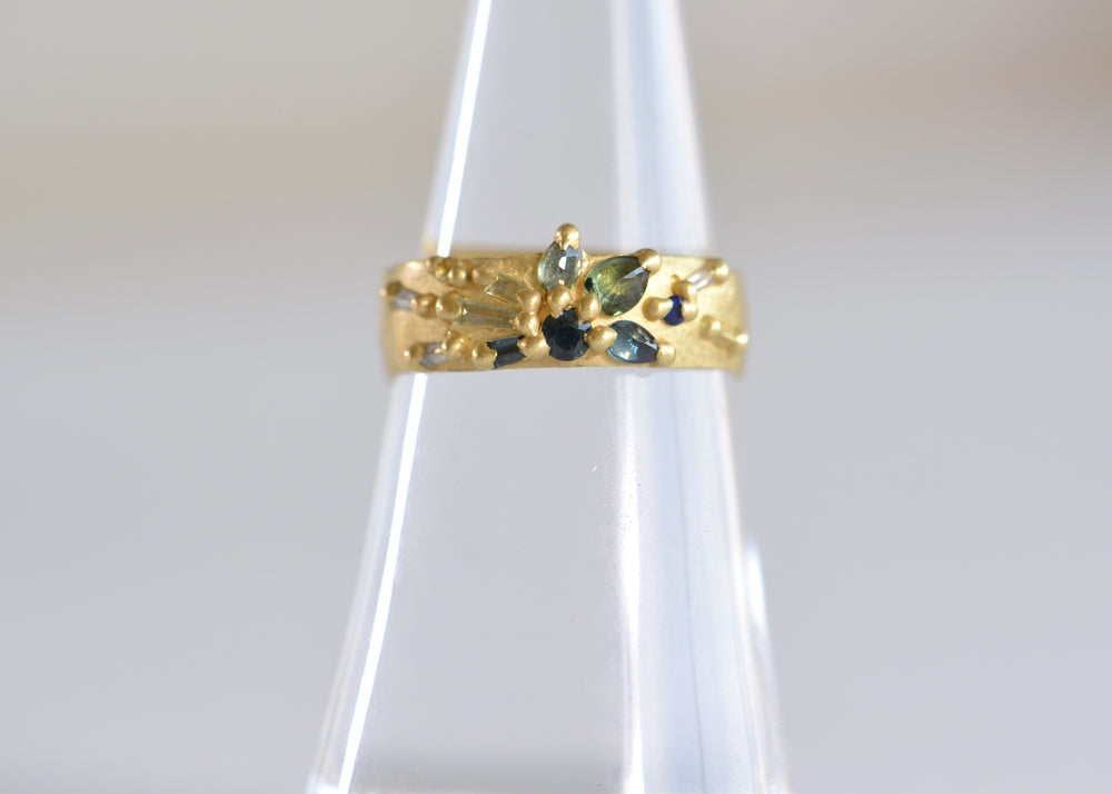 Polly Wales Lotus Ocean Fade Wide Ring white diamond Blue Green Aqua Sapphire sapphires 18k yellow recycled gold Size 6.5