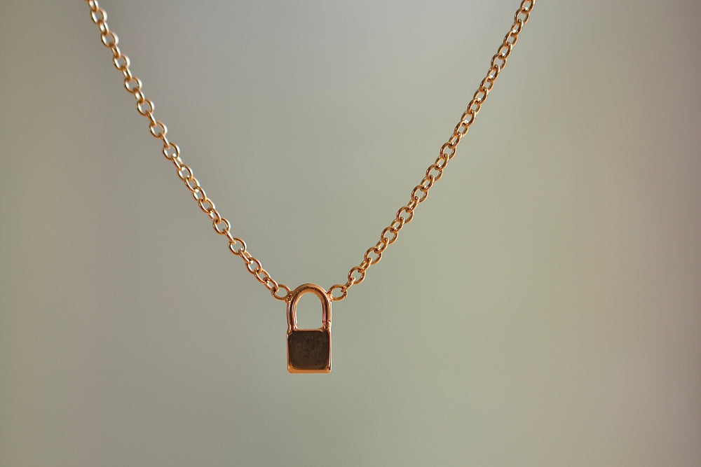 "Zoe Chicco Itty Bitty Padlock Necklace with five (5) Pave Diamonds charm in 14k recycled yellow gold on a 16"" gold cable chain"