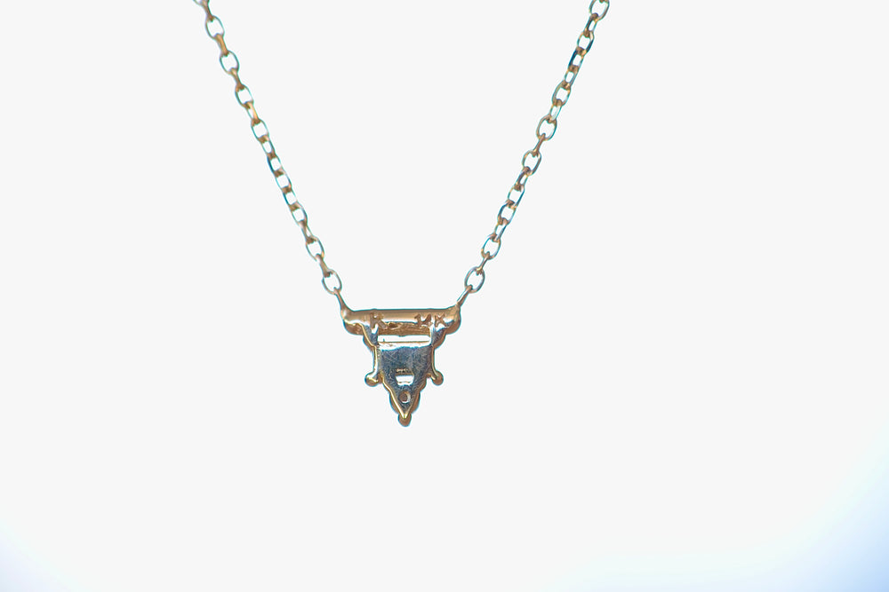 Load image into Gallery viewer, Jennie Kwon Diamond Baguette Bar Necklace Round Diamond bezel set 14k yellow gold