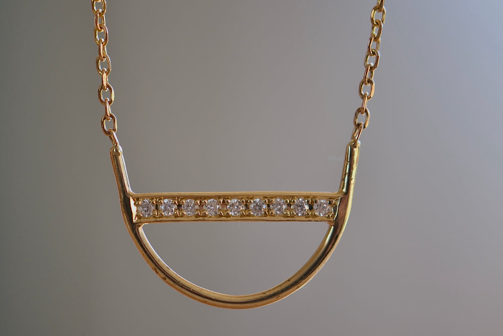 Jennie Kwon Diamond U Arc Shaped Necklace Nine 9 diamonds 14k yellow gold chain bezel