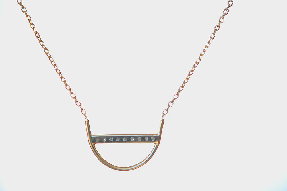Jennie Kwon Diamond U Arc Shaped Necklace Nine 9 diamonds 14k yellow gold chain bezel dainty