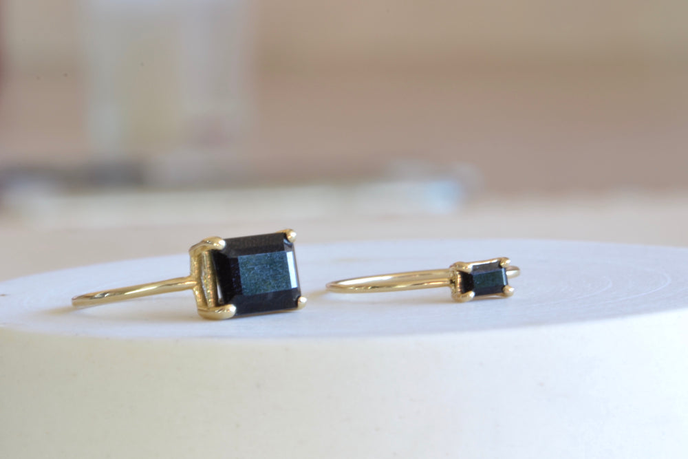 Jennie Kwon East West Onyx E.W.O small large Prong Set Emerald Cut 14k yellow gold