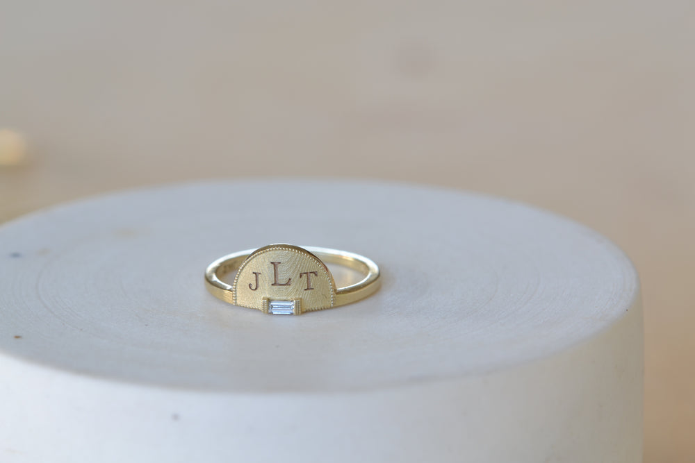 Half Moon Signet with Diamond Ring