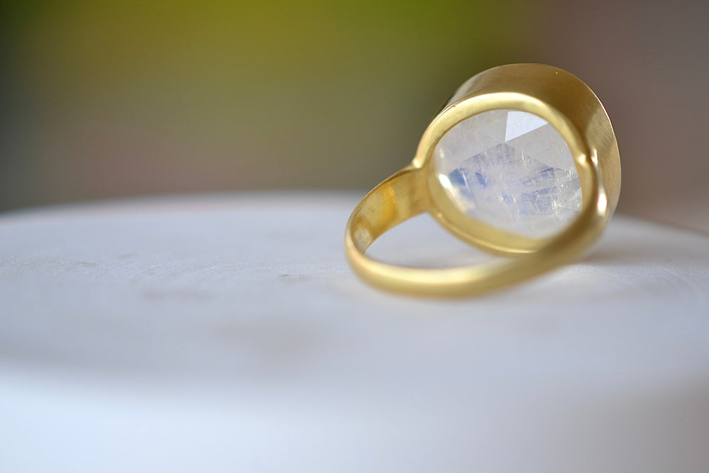 Pippa Small milky white translucent Moonstone Large Greek Ring 18k Yellow gold