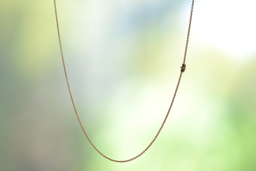Load image into Gallery viewer, Lizzie Mandler Floating Baguette Necklace 18k yellow gold Black Diamond baguette