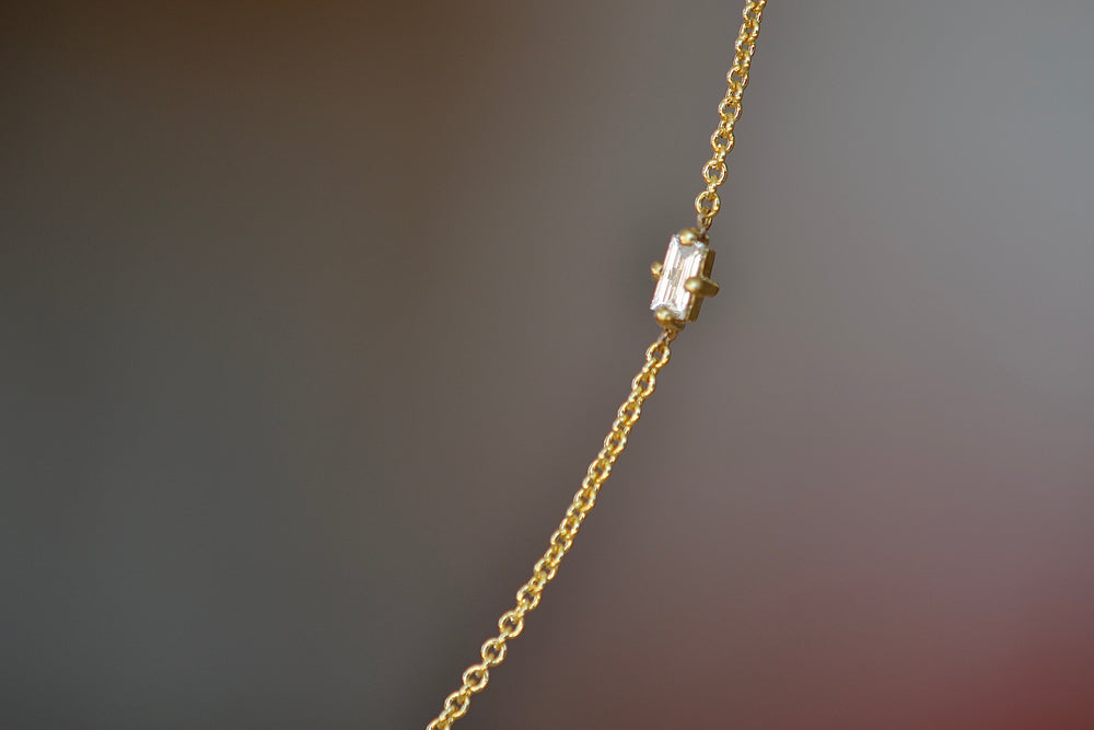 Lizzie Mandler Floating Baguette Necklace 18k yellow gold White Diamond baguette