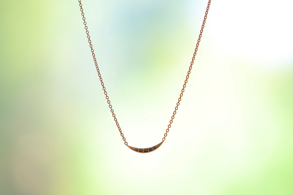 Lizzie Mandler Mini Crescent Necklace 18k Rose Gold Chain Pendant with five 5 black diamonds pave