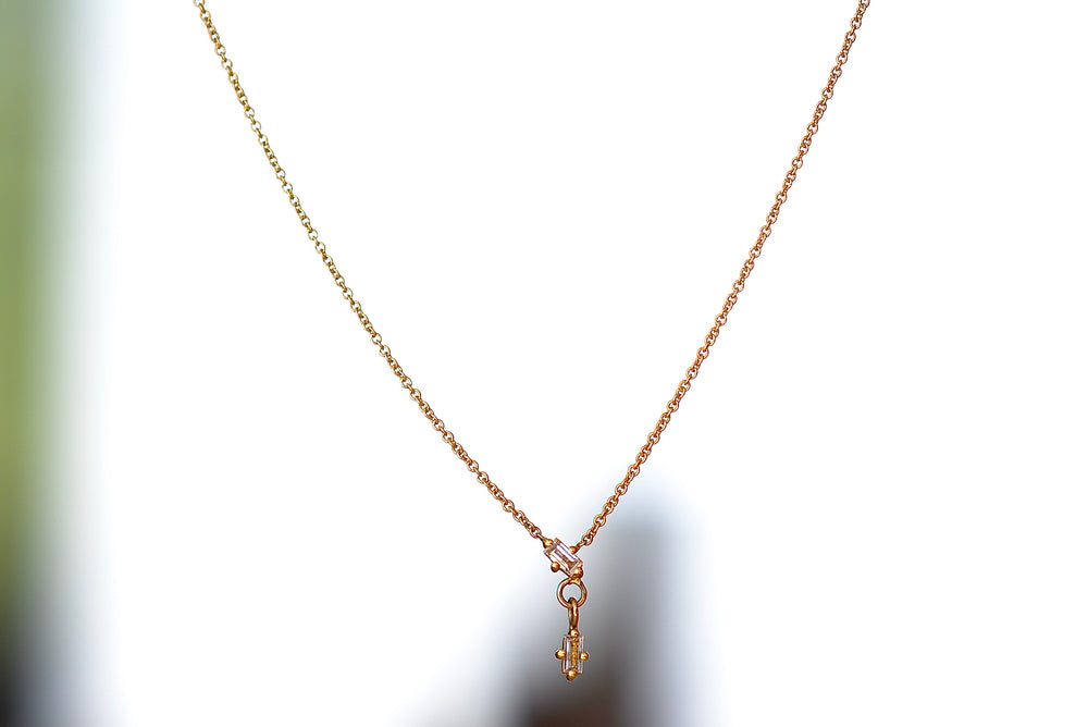 Lizzie Mandler Shift White Diamond Baguette Necklace in 18k yellow gold.