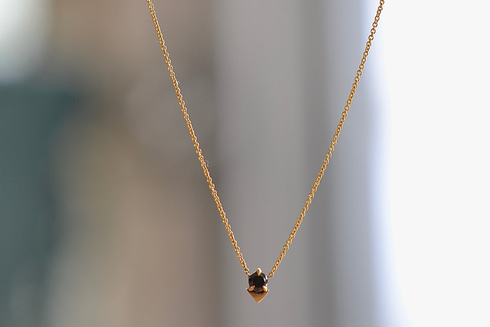 Lizzie Mandler Spike Necklace White round diamond 18k yellow gold chain Prong set round black diamond with a point accent in gold