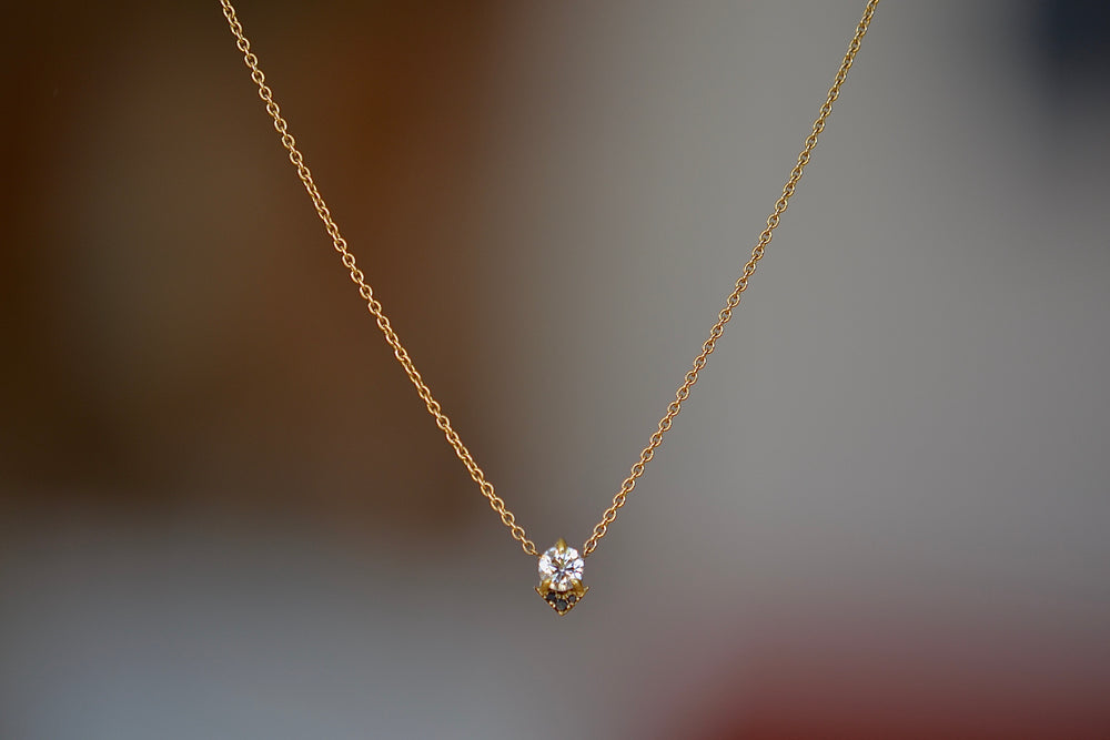 Lizzie Mandler Spike Necklace White round diamond 18k yellow gold chain Prong set round diamond with point accent in gold and black pave