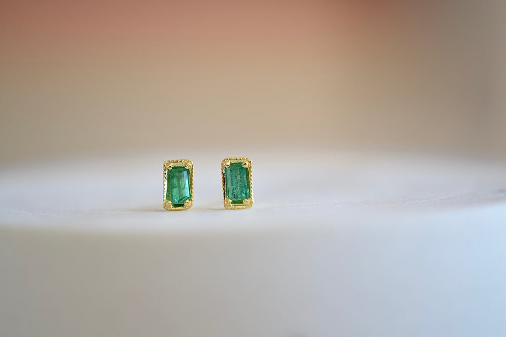 Ila Leone Stud Studs Earrings emerald cut in green emerald and 14k sustainable yellow gold
