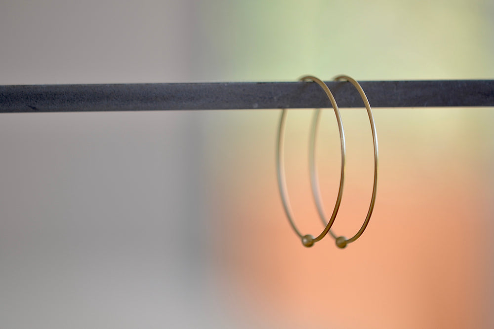 Loop Hoop Hoops earrings in large in 14k yellow gold and satin finish w