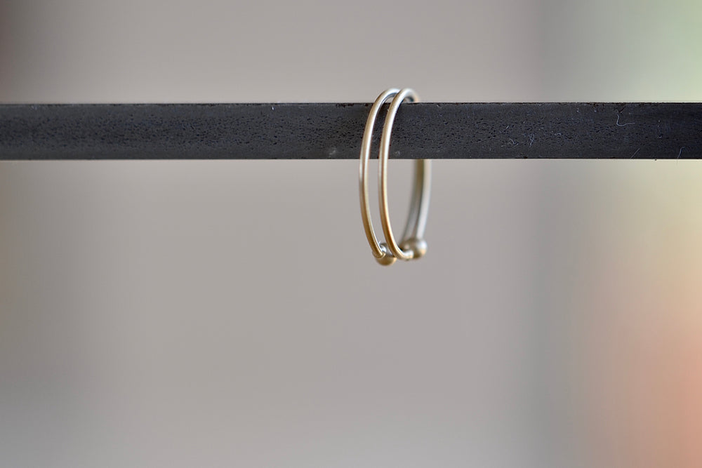 Loop Hoop Hoops earrings in small in 14k yellow gold and satin finish w