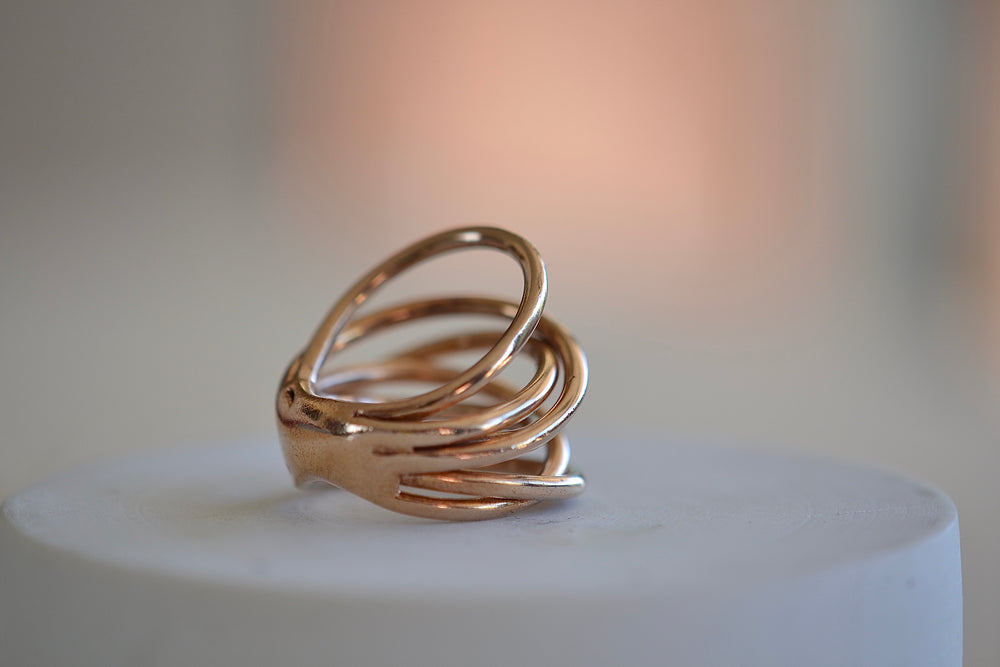 Load image into Gallery viewer, Monica Castiglioni Fili Fusi 02 Ring 6 strand loop Bronze